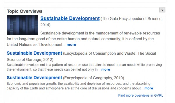 topic overviews of sustainable development from Gale Virtual Reference Library, shown in OneSearch